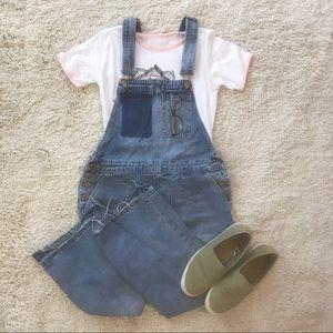 Denim flare overalls